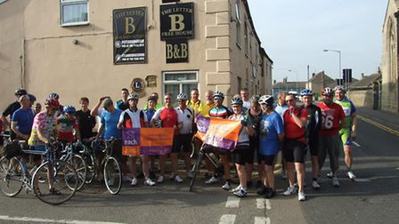 Cyclists from Letter B Whittlesey before their charity ride