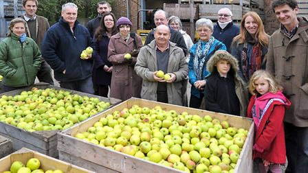 Open weekend at Watergull Orchards, North brink, Wisbech, David James third left with visitors to th