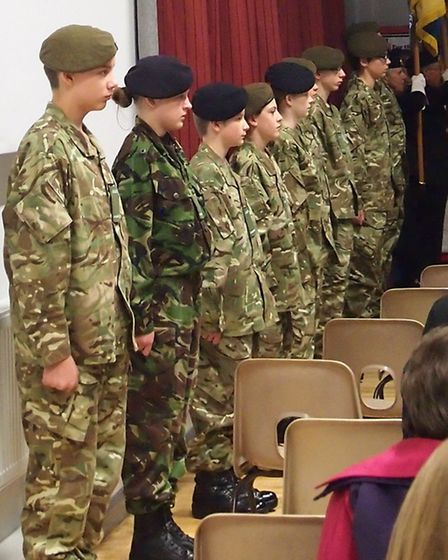 Remembrance service at Cromwell Community College.