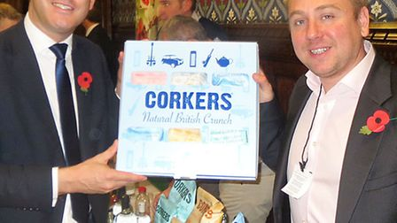 MP Steve Barclay, left, with Ross Taylor from Corkers Crisps.