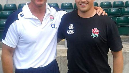 Talented student learns from the best at Twickenham rugby coaching day. Max Le Count-Ward with Engla
