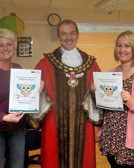 Stepping stones certificate presentation at Burrowmoor School, March. Parenting programme - Stepping