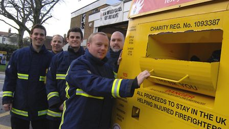 Ely Fire Station Clothing Bank, (l-r) Robert Foreman, Darren Fox, Dominic Mould, Brett Mills and Tom