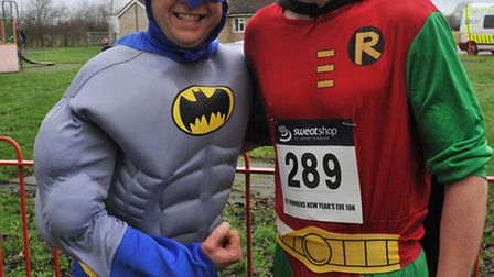 'Batman' Mark Turner and 'Robin' Leighton Barker of Ely Runners. Picture: ROB MORRIS