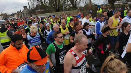 The runners leaving the start line. Picture: ROB MORRIS