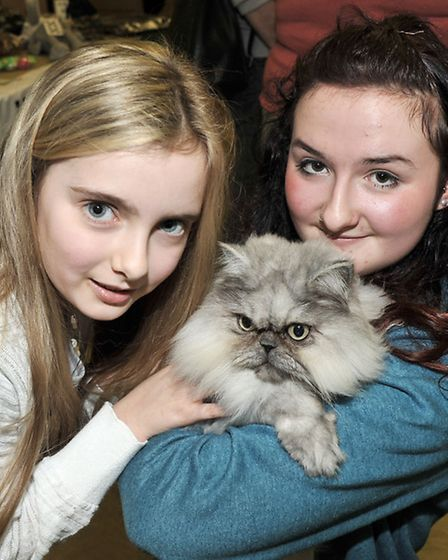 Exotic Cat Show at theTydd st giles community centre. Left: Sasha Hammond, Ghillie and Jade Faber.