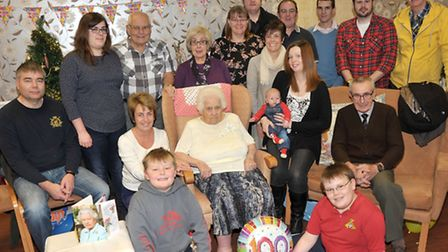 100th birthday of Florence Fraser and family party at Alliwal Manor care centre. Family and Relation