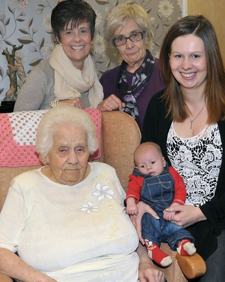 100th birthday of Florence Fraser and family party at Alliwal Manor care centre, Whittlesey. Five Ge