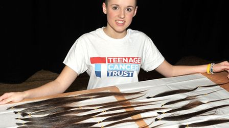 Head shave at Ely College. Sarah Bebbington had her head shaved for Teenage Cancer Trust. Sarah with