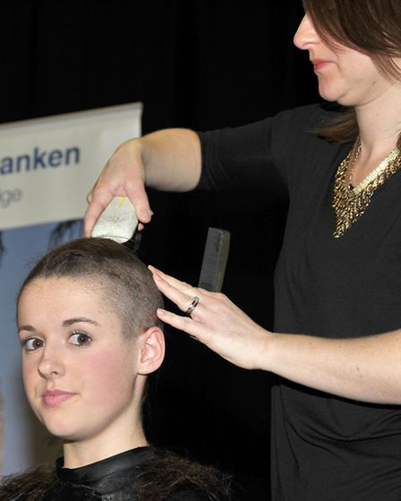 Head shave at Ely College. Sarah Bebbington had her head shaved for Teenage Cancer Trust. Stylist El