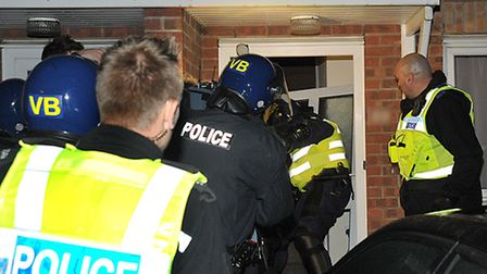 Police and partner agencies carry out a raid for Operation Endeavour in October.