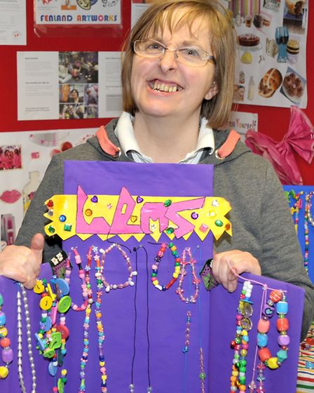 Mencap Artworks March. Steph Oliver with the Jewellery she made.
