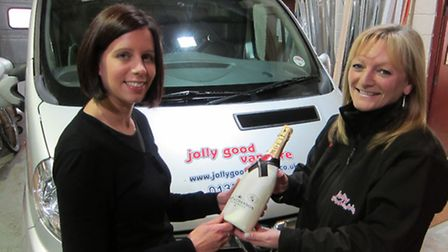 (left) Julia Day from Display Graphics and (right) Wendy Thompson, rental administrator for Jolly Go
