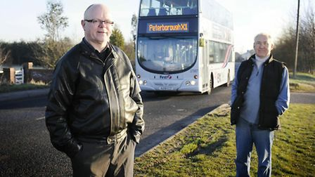 X1 Bus Blogger Gerard Fletcher, left, and fellow bus enthusiast Bruce Billingham with the First Dire
