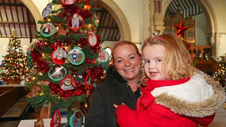 Mum and daughter Louise and Cerys Pearce with their tree.