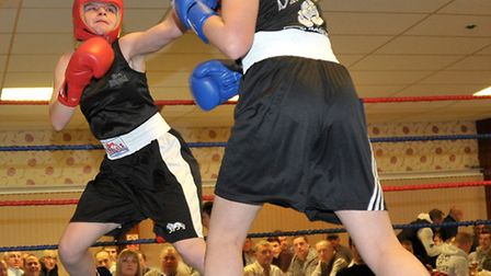 March ABC boxing show.Red Corner Patsy Smith (March).Harley Whitwell( St Ives)Picture: Steve William