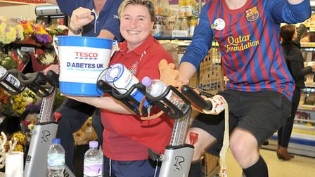 Tesco March. Indoor cycling challenge. Left: Ash Smith, Abi day and Lee Hawksford.
