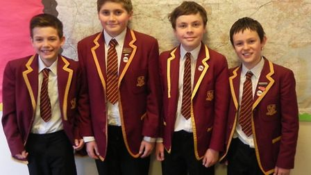 The victorious Felsted team, from left, Alfie Summers, James Cotterill, George Harvey and Josh Bird