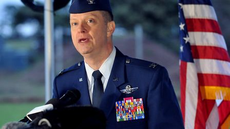 Col Kyle Robinson talks during a press conference at RAF Lakenheath about the helicopter crash in Cl