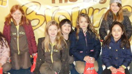 Girls from 1st Wisbech St Mary brownies enjoy themselves at the birthday party.