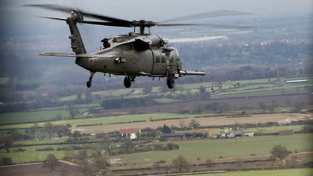 An HH-60G Pave Hawk assigned to the 56th Rescue Squadron travels to the Royal Air Force Spadeadam El