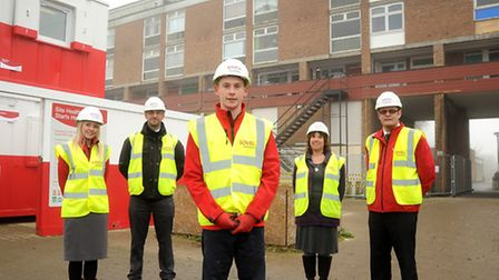 Pictured on site at Hillington Square, left to right, Lovell training administration assistant Jo Sc