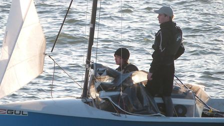 Nick Copsey, standing, with crew Lewis Bowen