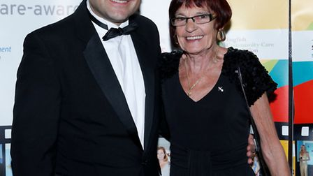 Matt Sumner, managing director of Midas Care, pictured with carer Gloria Rudd at a recent awards cer