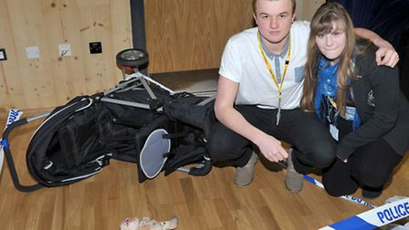 Neale Wade Academy. Road safety event. Sixth form students Kieran and Shelbie. Picture: Steve Willia