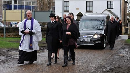 The funeral procession arrives at the church. Picture: ROB MORRIS