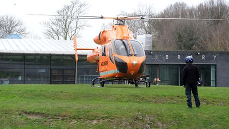 The medical helicopter landed on the mound outside March Library. Picture: ROB MORRIS
