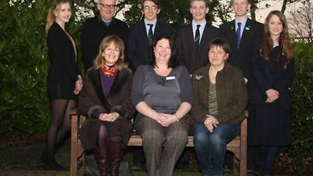 Speaker David Bramston (2nd from left at the back) with marketing and recruitment officer Laura McCa