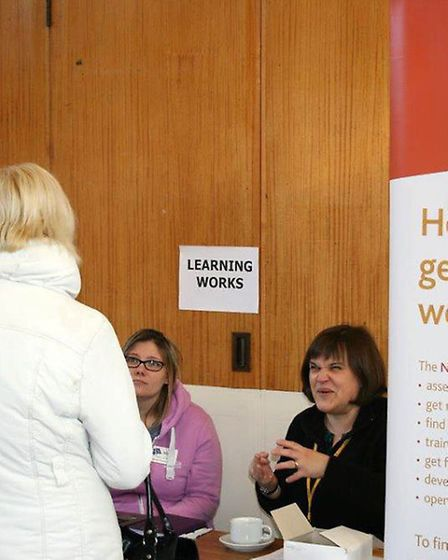 JOB CAFE - Queen Mary Centre, Wisbech. The National Careers Service stall.
