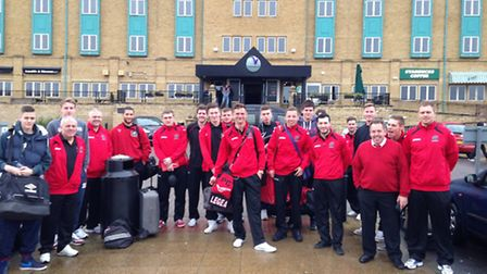 The Wisbech team outside the hotel before the game. Picture: SPENCER LARHAM