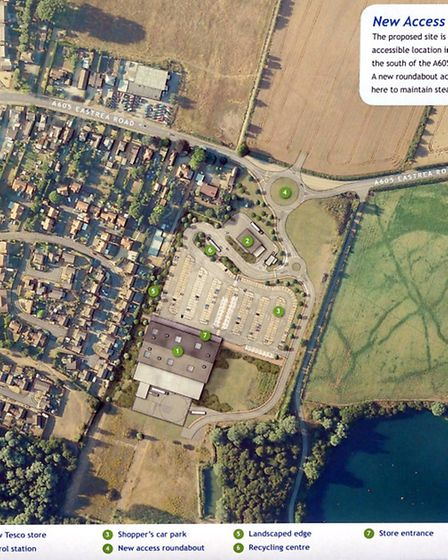 Tesco plans for a store in Whittlesey. The Eastrea Road Site.