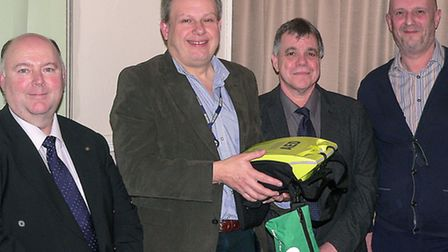 The AED which will be located at March Conservative Club was presented to Stephen Bradshaw the Conse