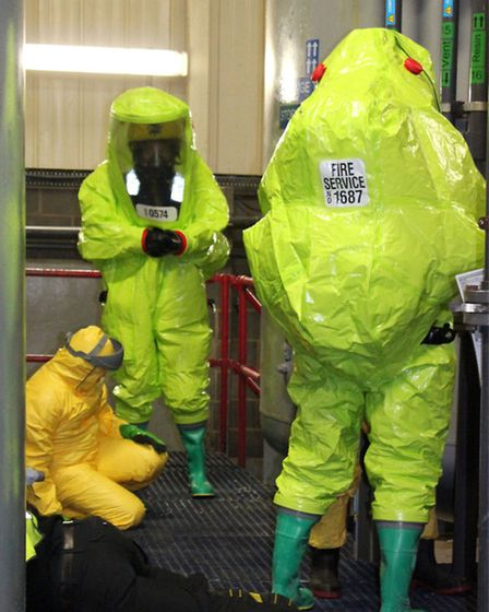 Cambridgeshire Fire and Rescue Service. Dozens of firefighters were involved in recreating a chemica