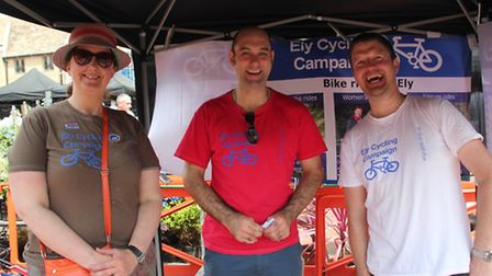 Members of the Ely Cycling Campaign at a summer roadshow