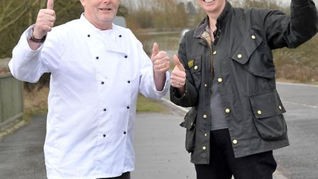 Welney wash rd open. Dennis and Gina Birch from the Lamb and Flag. Picture: Steve Williams.