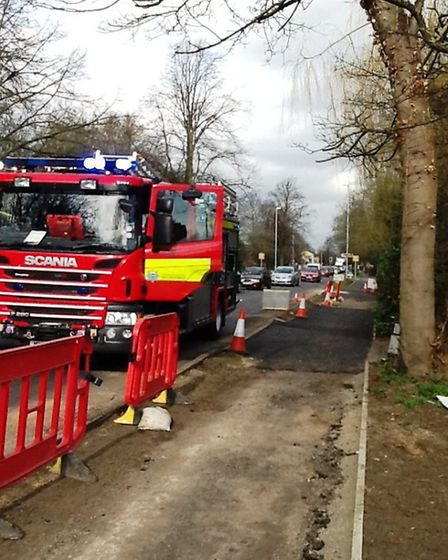 Wimblington Road, March, fire. Crews at the scene of a blaze which broke out in a bedroom.