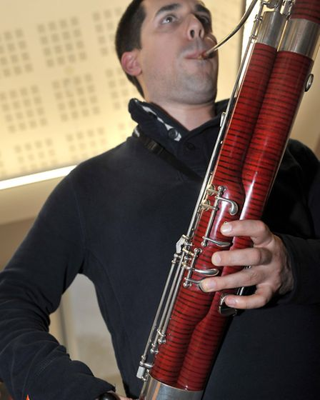 Music workshop at Neale Wade academy. Chris Rawley Bassoonist from City of London Sinfonia.March. Pi