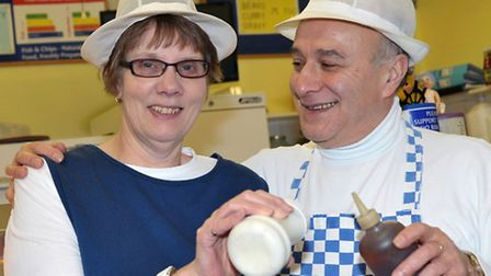 Friday Bridge Fish Bar voted best chips in Cambridgeshire. Lindsey and Fernando De-Oliveira. Picture