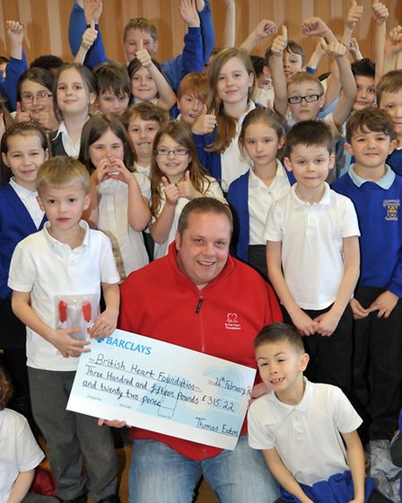 Nigel Cole from the British Heat Foundation attended the assembly to be presented with a cheque for