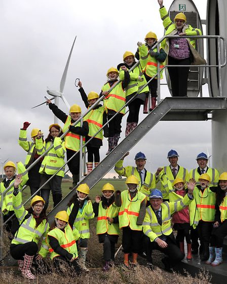 Coldham co-op Wind farm opening, Children from All Saints Interchurch Primary school County rd March