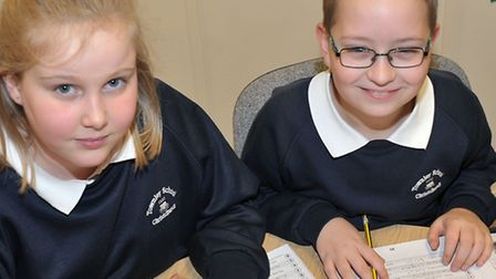 Townley Primary School, Christchurch. School got glowing Ofsted. Left: Lois and Jacob with their tex