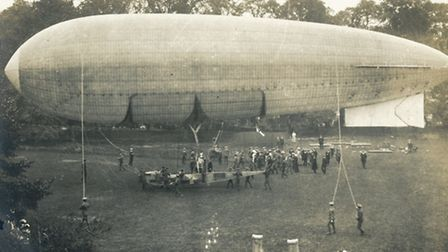 An airship on Jesus Green, Cambridge during the 1912 army manoeuvres. Image provided by the Cambrid