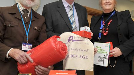 Golden Age Event at the Oasis centre, Wisbech. Left: Cllr Bernard keane, Cllr Will Sutton and FDC Ju