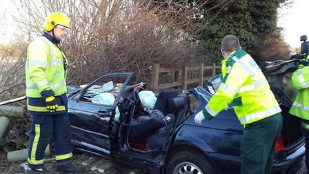 The BMW which crashed into fence along the A47 at Peterborough