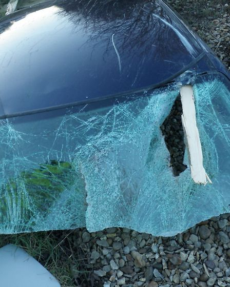 Post spears windscreen of A47 accident