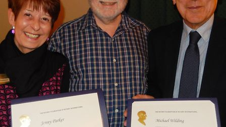 Jenny Parker and Michael Wilding receive their awards.